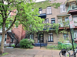 Bright two bedroom Plateau condo with a private parking spot