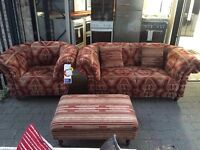 ***NEW EX DISPLAY Aztec sofa set of 2 seater, armchair and foot stool for SALE***