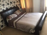 REAL LEATHER Sleigh bed King size