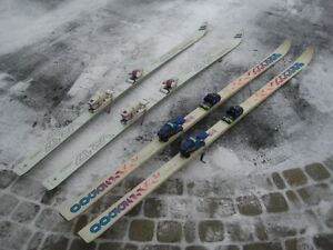 2 pair of skis, 1.95m and 2.1m  glass,  ski bag, 2.1m length