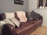 Handmade Italian leather 3 seater & 2 seater sofa