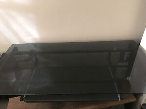 Black top glass desk