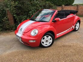 2004 VOLKSWAGEN BEETLE 1.9 TDI RED CABRIOLET (STUNNING) MOT JULY 2016! A MUST SEE!