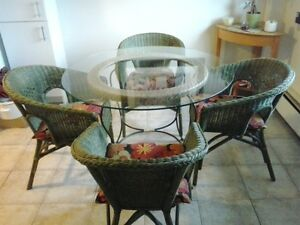 GLASS & WICKER TABLE & 4 CHAIRS