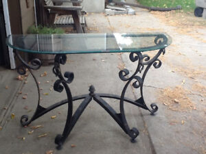 Beautiful cast iron and glass table entrance table