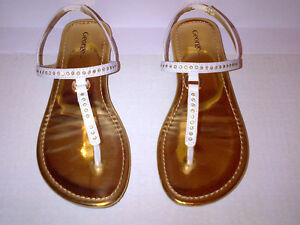 George Girls Gold & White Diamond Glitter Sandals Size 2 MINT!