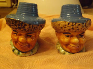 VINTAGE SALT AND PEPPER SHAKERS- HEADS- JAPAN