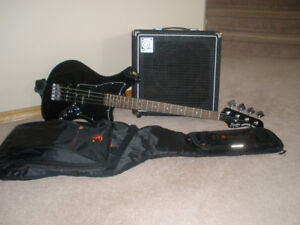 SQUIER by FENDER:  BASS GUITAR - AMPLIFIER & CASE