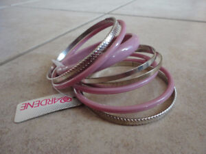 ARDENES WOMEN'S GIRL'S BLUSH PINK AND SILVER BANGLE SET