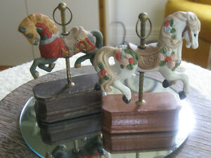 PAIR VINTAGE PRANCING HORSE CAROUSELS on WOODEN PEDESTALS