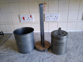 Kitchen Craft utensils holder, kitchen roll holder, tea caddy