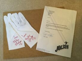 Al Jolson gloves signed by Brian Conley