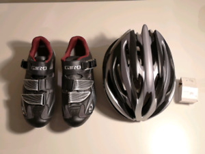 Road biking starter kit (helmet, clip in shoes and storage Clug)