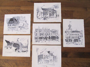 Architectural Ink Art of Montreal and Toronto by Richmond