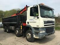 2007 DAF CF85.380 8x4 steel tipper, Epsilon E120L crane and grab, LEZ compliant