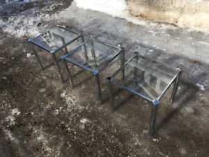 Ensemble Tables Gigognes Mid Century Modern Chrome Vitre 1960