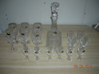 Vintage Pinwheel Cut Crystal Glasses and Decanter set.