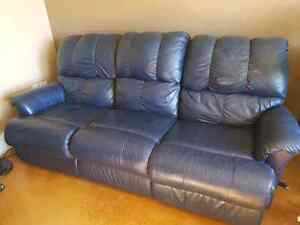 Navy Leather Recliner Sofa and Chair $400