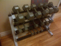 256 lbs Dumb bell set, with rack