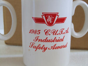 BRAND NEW SET OF 2 VINTAGE TTC 1985 INDUSTRIAL SAFETY COFFEE MUG London Ontario image 4