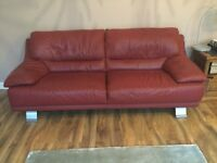 Soft red leather Italian large 3/4 seater sofa and armchair