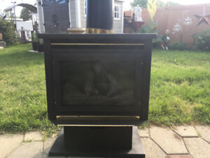 Century Natural gas fireplace with chimney