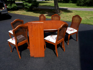 Vintage solid wood dining table and chairs