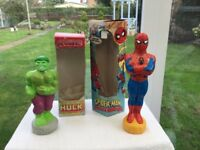 SPIDERMAN & HULK TWO EXTREMLY EARLY & RARE LARGE SIZED BOXED BUBBLE BATHS. MADE 1990