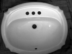 White drop-in vanity sink.