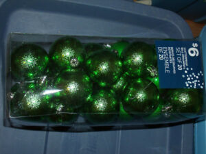 green Christmas ornaments