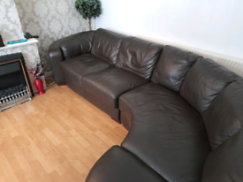 Leather corner unit sofa