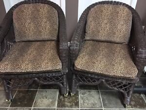 """4 Brown """"Henry Link Wicker""""  Chairs on casters"""