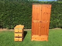 Wardrobe, chest of drawers, and bed side cabinet