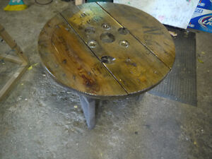 round hydro spool top table. solid wood metal base London Ontario image 3
