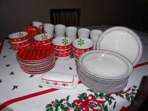 Complete Set Of Christmas Dishes - 12 Place Settings