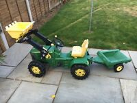 John Deere Ride On Tractor and Trailer