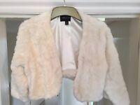Women's Ivory faux fur bolero jacket