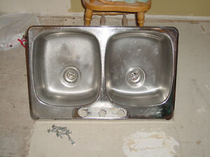 Kitchen Double Basin Stainless Sink and Chrome Taps