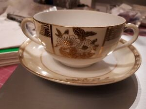 Vintage Noritake double handle bouillon cup and saucer