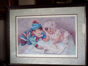 "Hand Signed Lithograph by Listed Artist John Newby ""Book Ends"""