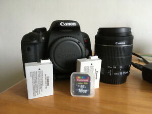 Canon EOS rebel t5i - 18-55 mm EFS , 2 battery, Carte SD 16g