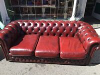 Chesterfield sofa 3 seater vintage retro leather