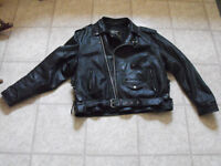 Black leather motorcycle jacket in good condition