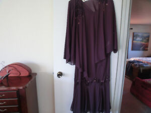 New Elegant Long Plum Dress with Coverup