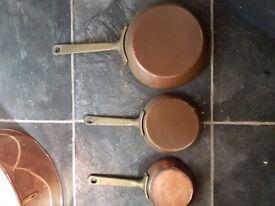 Copper & brass vintage saucepans