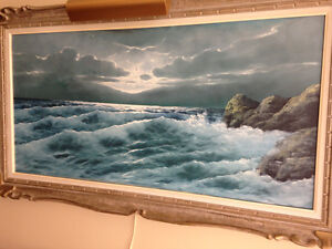 Original Oil Painting, signed with attached display light