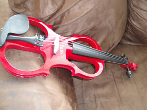 STUNNING RED CHERRY ELECTRIC VIOLIN BRAND NEW ANOTHER WHITE$220