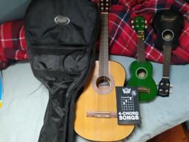 Jose ferrer el primo guitar and 2 makala dolphin ukuleles