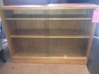 Small Light Oak Bookcase with Glass Doors - Adjustable Shelves - CAN DELIVER