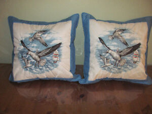 Ocean Themed Hand Quilted Cushions--great for cottage by the sea